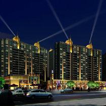 商业办公楼 夜景亮化效果图 最专业的亮化效果图设计
